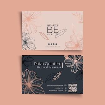 Cartão de visita dupla face floral para salão de beleza Vetor Premium