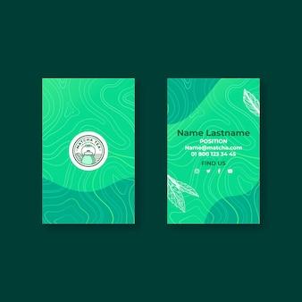 Cartão de visita dupla face matcha chá