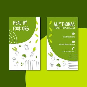 Cartão de visita dupla face para alimentos biológicos e saudáveis