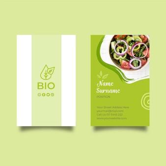 Cartão de visita dupla-face para alimentos biológicos e saudáveis