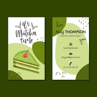Cartão de visita dupla face sobremesas matcha