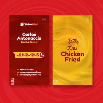 Cartão de visita dupla face vertical de comida americana