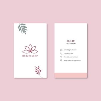 Cartão de visita dupla-face vertical para salão de beleza
