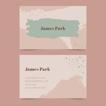 Cartão de visita duplo pintado à mão