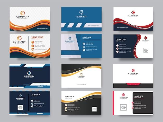 Cartão de visita editável ou conjunto de design de modelo horizontal isolado em cinza