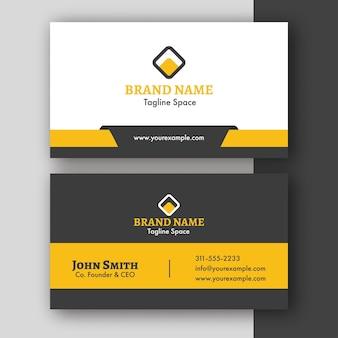 Cartão de visita editável ou modelo horizontal na vista frontal e traseira.