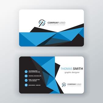 Cartão de visita editável poligonal azul