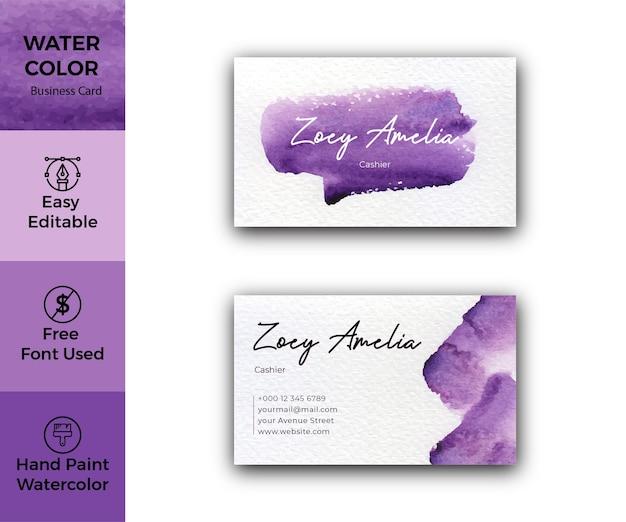 Cartão de visita elegante aquarela abstrato violeta