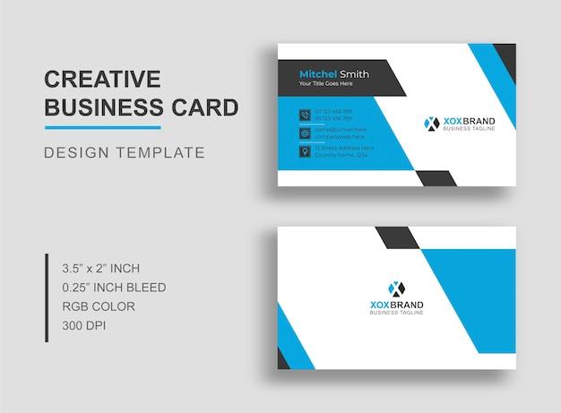 Cartão de visita elegante azul
