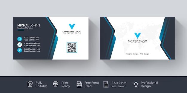 Cartão de visita elegante cartão de visita azul e branco