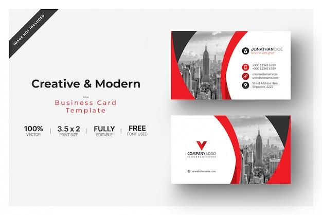 Cartão de visita elegante com detalhes vermelhos