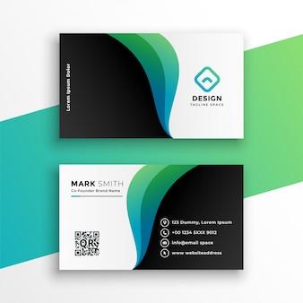 Cartão de visita elegante com formas curvas