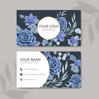 Cartão de visita elegante com fundo floral em aquarela