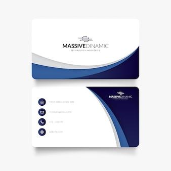 Cartão de visita elegante com ondas azuis