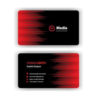 Cartão de visita elegante com rajadas vermelhas