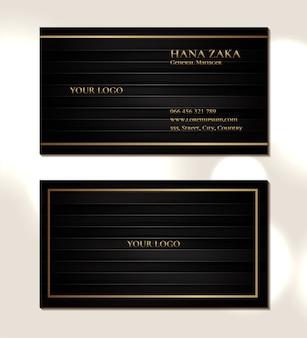 Cartão de visita elegante com textura de madeira preta