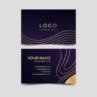 Cartão de visita elegante de linhas douradas onduladas