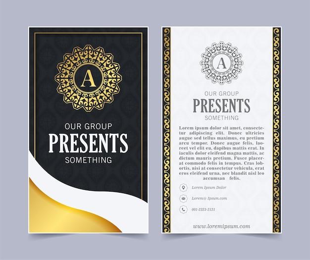 Cartão de visita elegante e modelo de logotipo de ornamento vintage. retro elegante floresce design ornamental