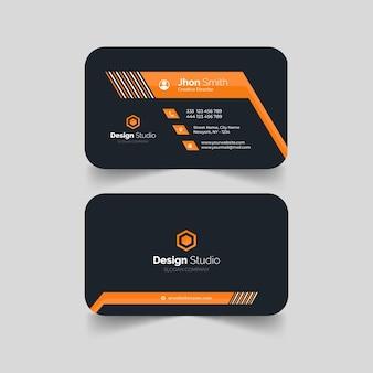 Cartão de visita elegante em formato laranja tempalte