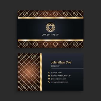 Cartão de visita elegante luxuoso do ouro