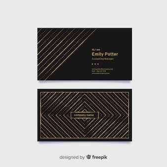 Cartão de visita elegante preto com elementos dourados