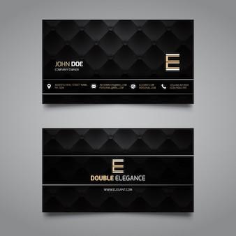 Cartão de visita elegante preto e dourado