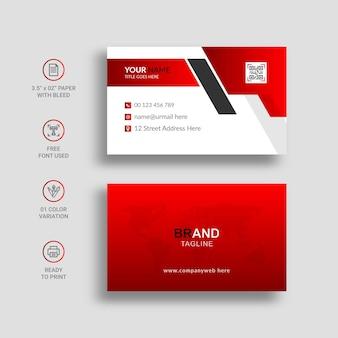 Cartão de visita elegante vermelho e branco