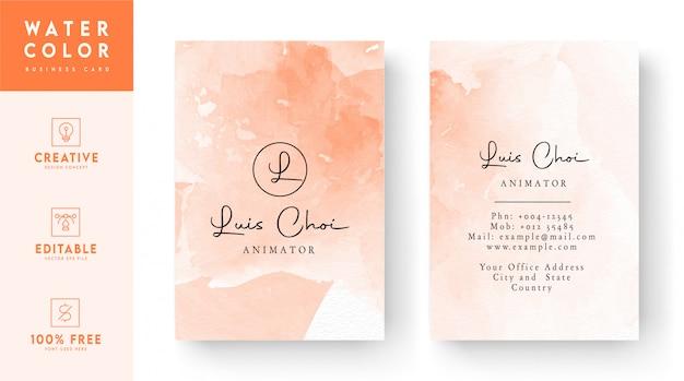 Cartão de visita em aquarela - cartão abstrato rosa