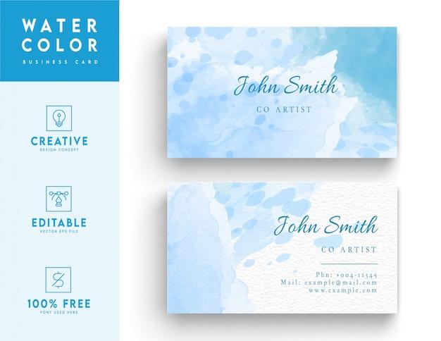 Cartão de visita em aquarela - design de cartão de identidade abstrato em azul e branco