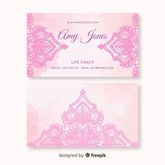 Cartão de visita em aquarela mandala