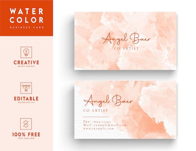 Cartão de visita em aquarela rosa e branco - design de modelo de cartão de identidade colorido