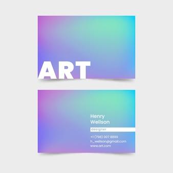 Cartão de visita em cores pastel degradê