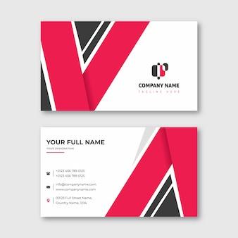 Cartão de visita em forma de v vermelho e preto