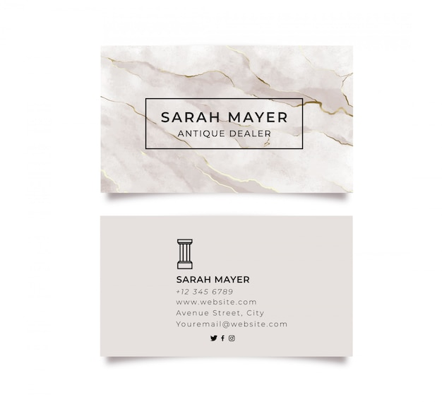 Cartão de visita em mármore