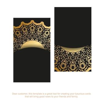 Cartão de visita em preto com ornamentos indianos dourados