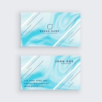 Cartão de visita em textura de mármore azul
