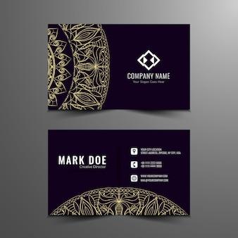 Cartão de visita escuro elegante da mandala