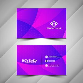 Cartão de visita estilo onda de cor roxa
