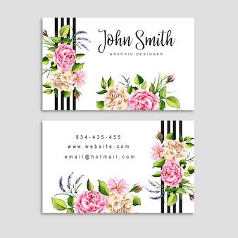 Cartão de visita floral da aguarela com listras