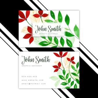 Cartão de visita floral da aguarela
