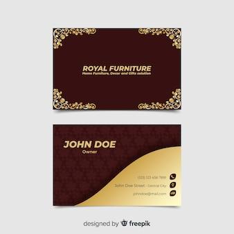 Cartão de visita floral dourado do modelo