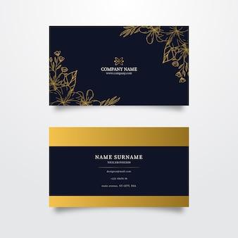 Cartão de visita floral dourado modelo