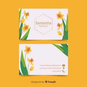 Cartão de visita floral modelo com detalhes em ouro