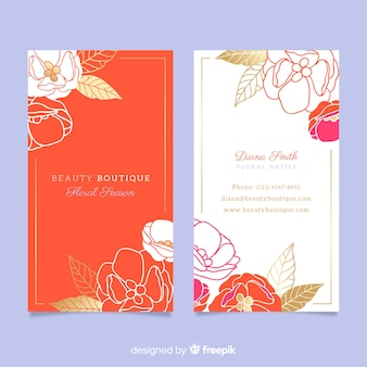 Cartão de visita floral modelo com linhas douradas