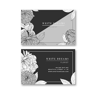 Cartão de visita floral preto e branco realista