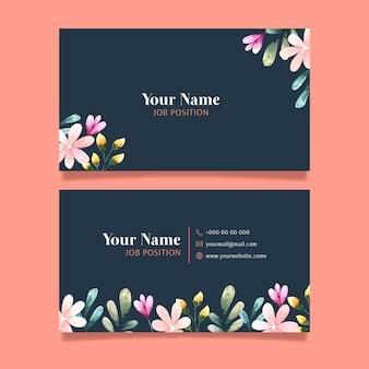 Cartão de visita frente e verso com flores