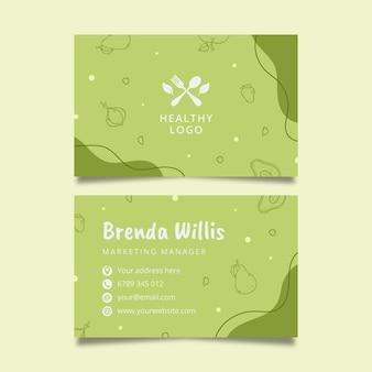 Cartão de visita frente e verso de comida saudável