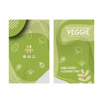 Cartão de visita frente e verso de restaurante vegetariano