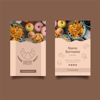 Cartão de visita frente e verso para restaurante de café da manhã