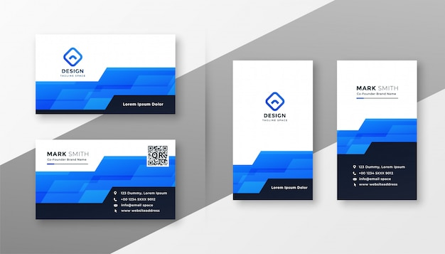 Cartão de visita geométrico azul abstrato do estilo